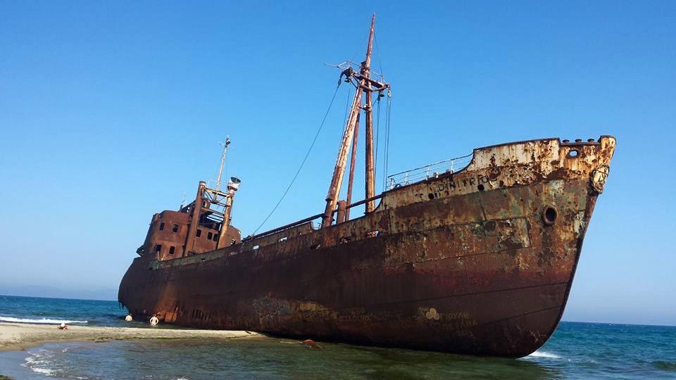 Dimitrios shipwreck on valtaki beach, near Gytho in Greece