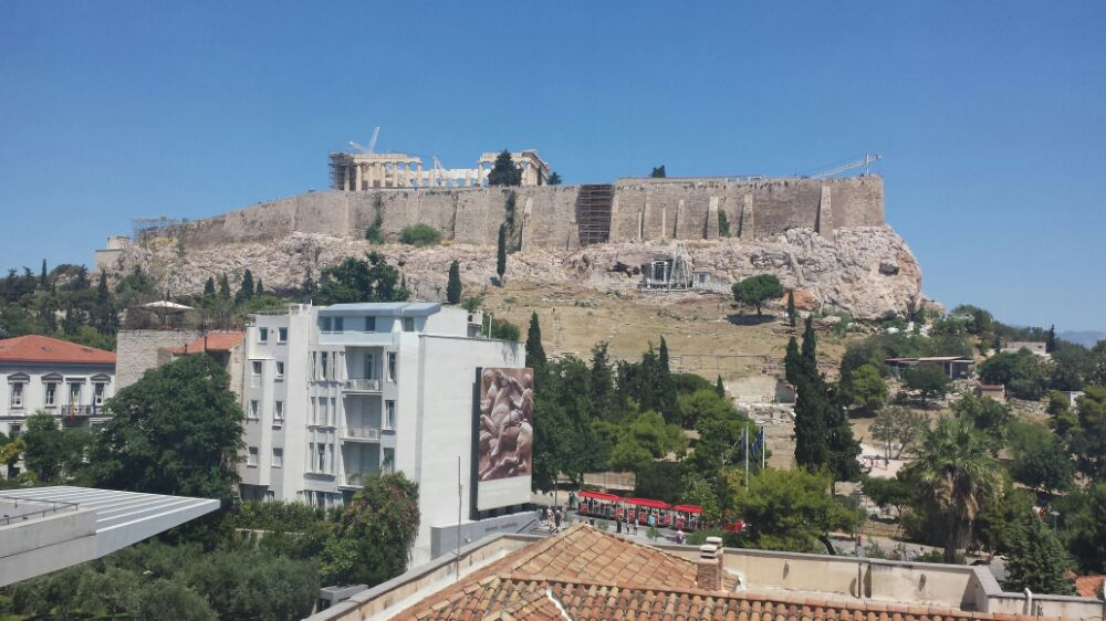 The view from the Acropolis museum out onto the Acroplois itself