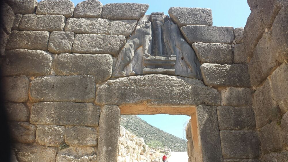 Lion's Gate leading up to the ancient city fortress of Mycenae in Greece