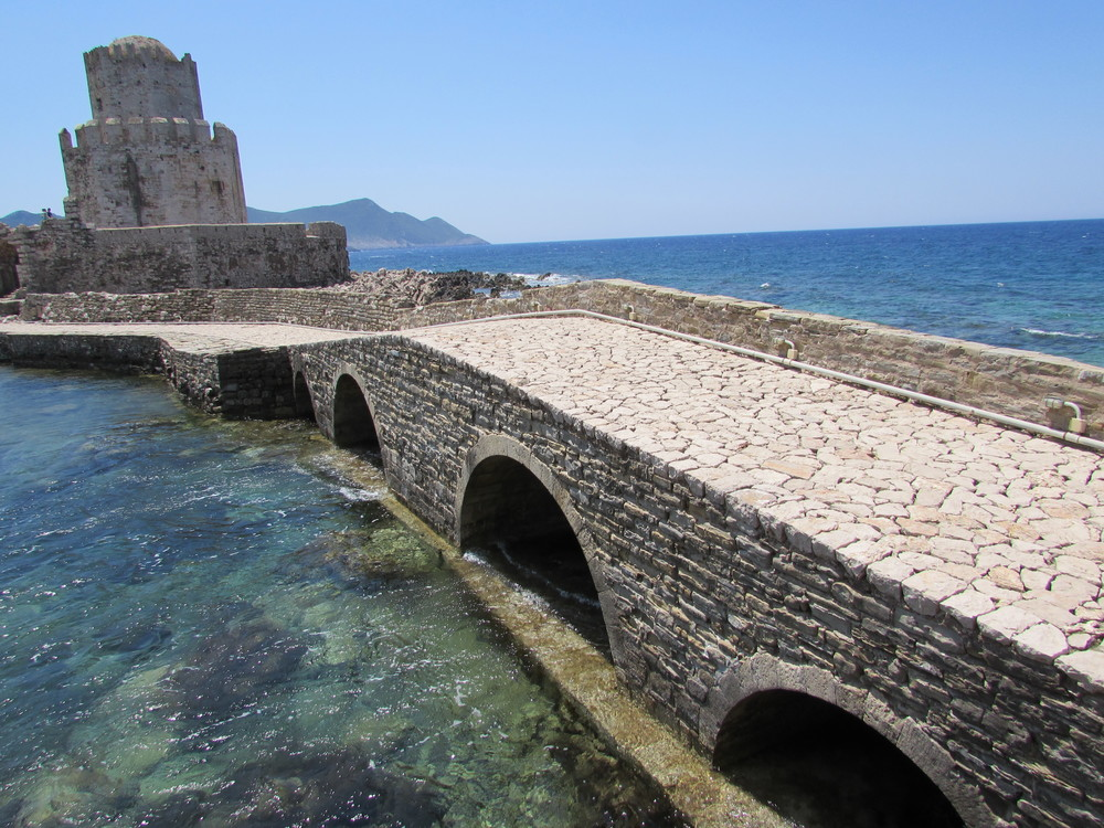 The Bourtzi section of Methoni castle in the Peloponnese region of Greece. Koroni and Methoni castles are known as the Eyes of Venice.