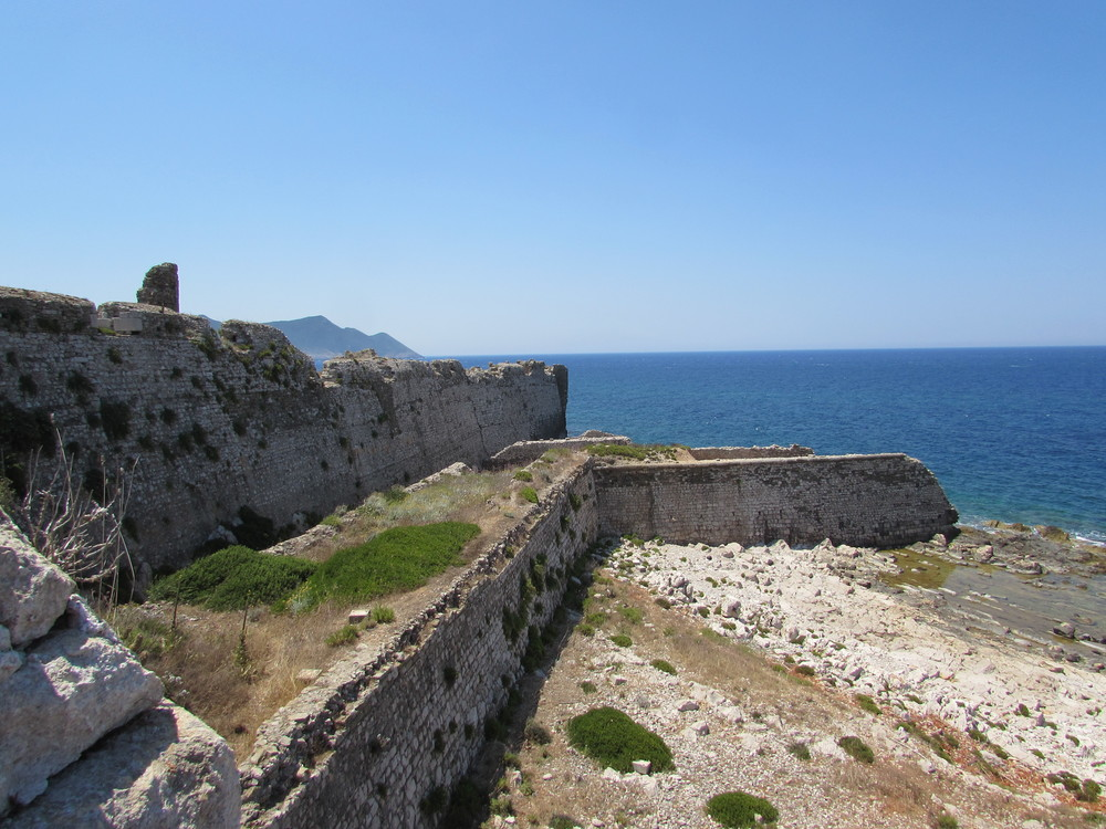 The outer defences of Methoni castle in Greece.