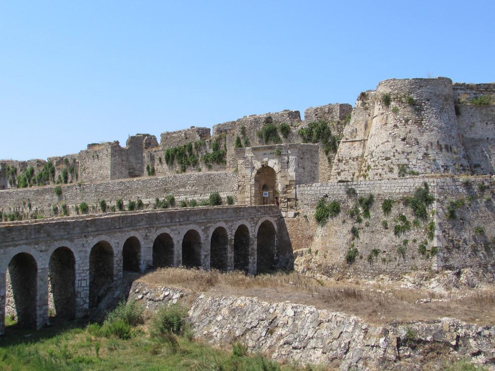 The stone bridge leading to Methoni Castle in Greece.