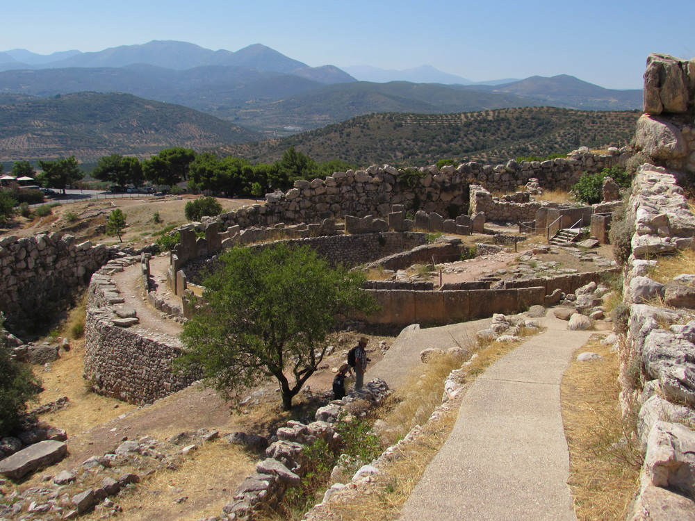 View out over Mycenae in Greece