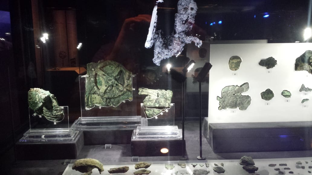 The Antikythera Mechanism on display at the National Archaeological Museum of Athens. One of the greatest mysteries of Ancient Greece.