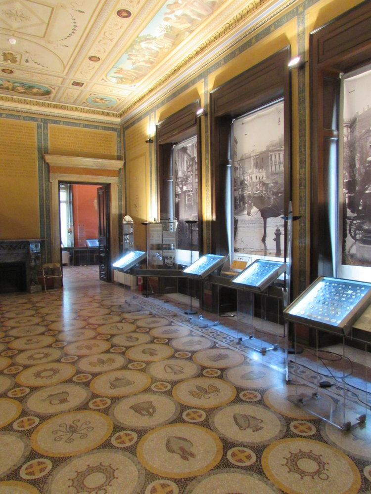 The decorative interior of the Numismatic Museum of Athens.
