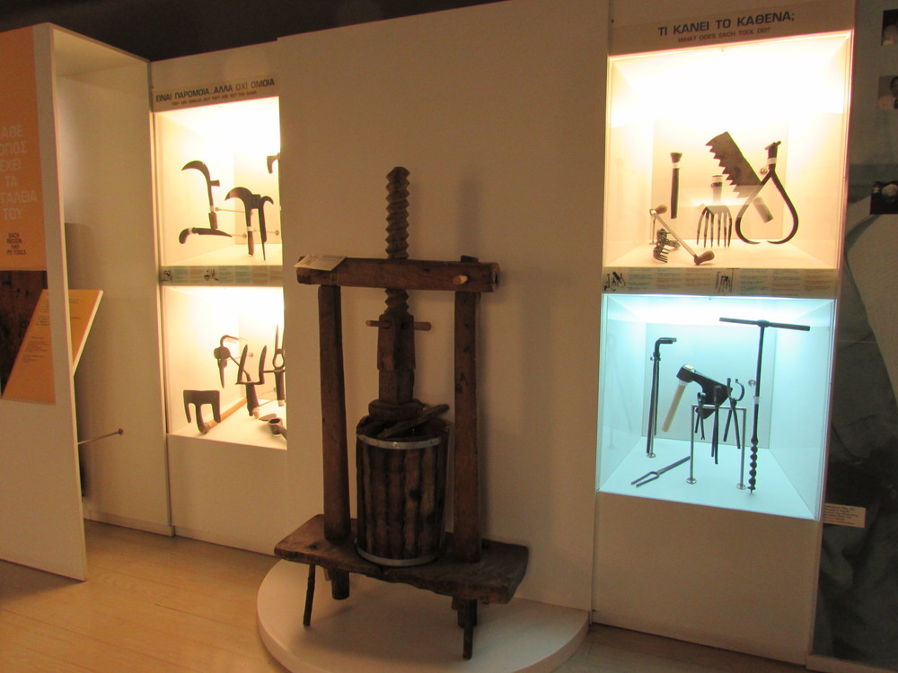 Objects on display at the Museum on 22 panos Street in Athens. m and and Tools exhibition.