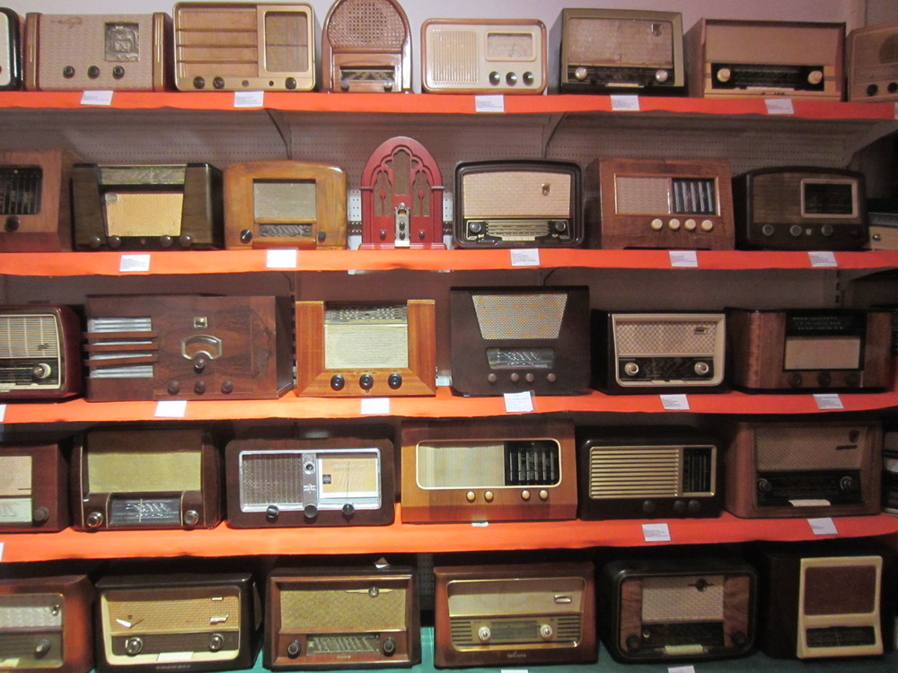 Radios on display in the museum in Karya in Lefkada