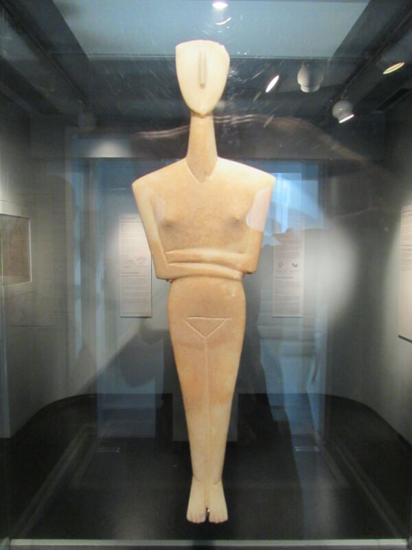 Enigmatic figurine in the Museum of Cycladic Art in Athens, Greece