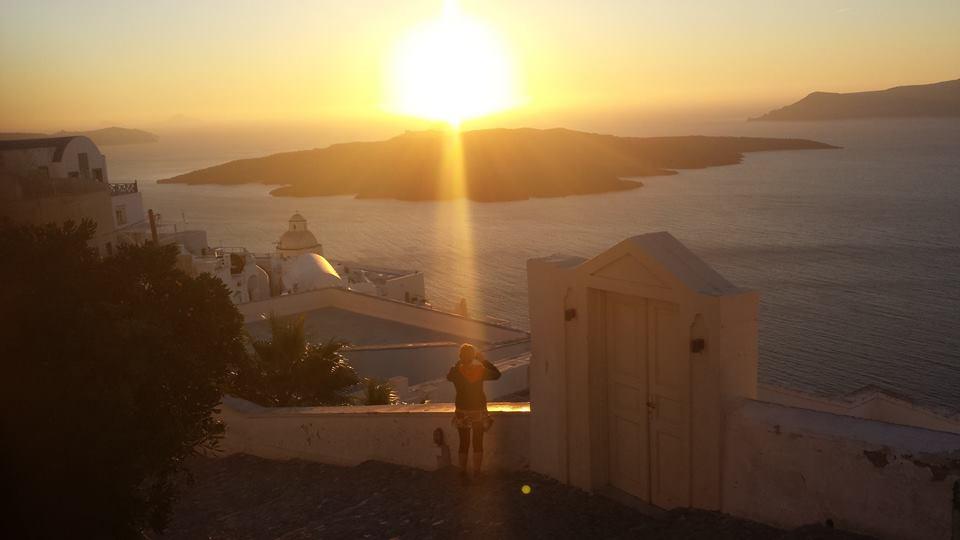 A unique sunset in Santorini