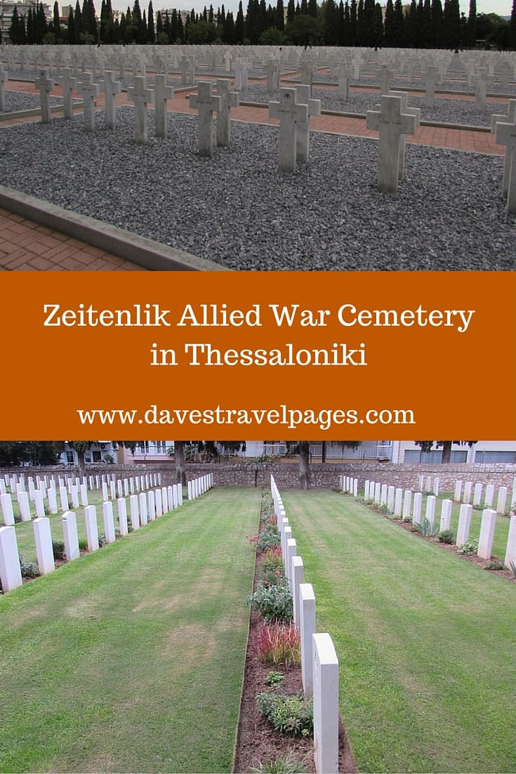 The Zeitenlik Allied War Cemetery in Thessaloniki, contains the graves of 20,000 soldiers who died on the Macedonian Front during World War One.