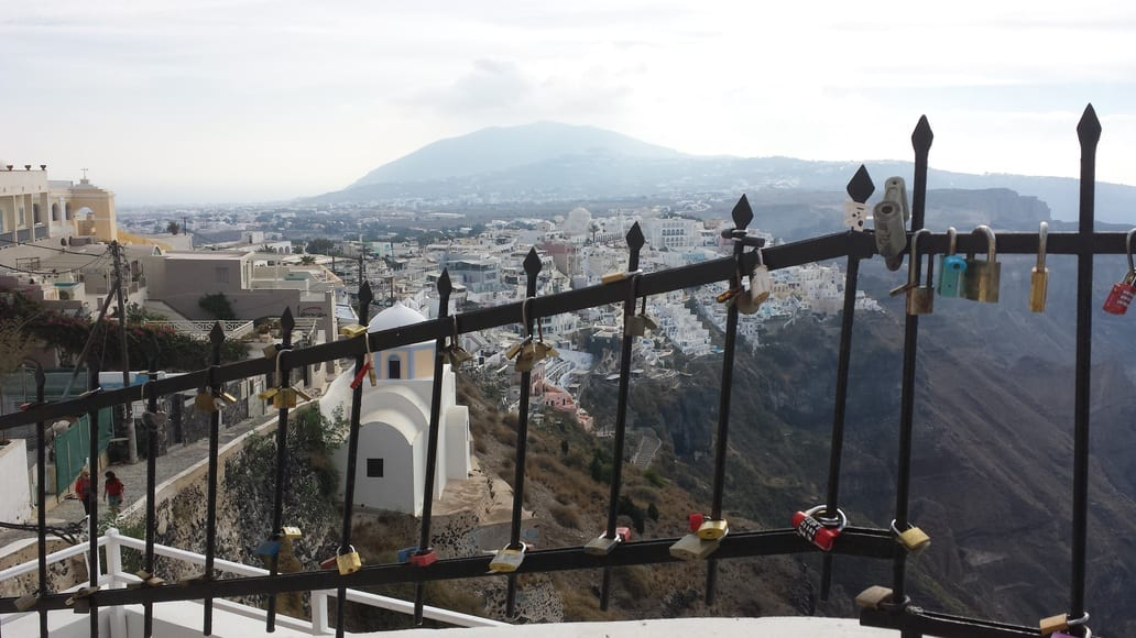 Walking from Fira to Oia in Santorini. This gate had lots of 'love locks' attached to it.