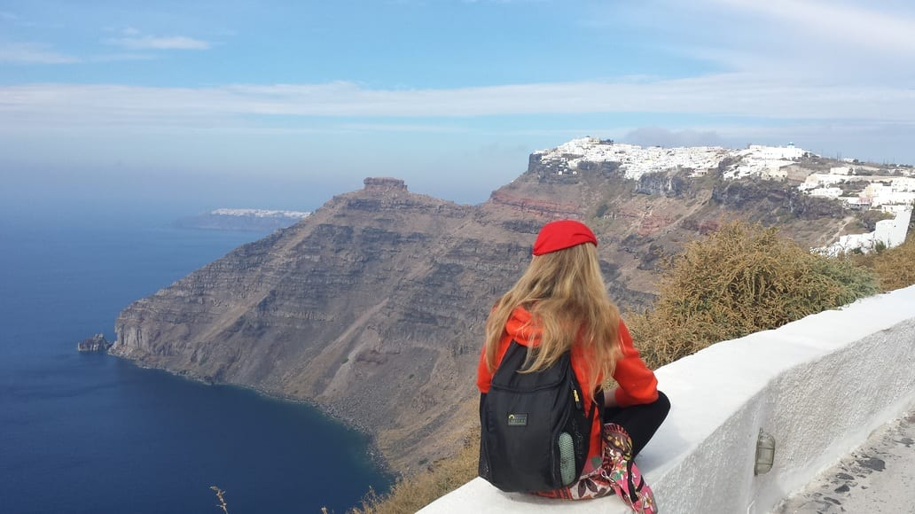Hiking from Fira to Oia. The views are truly spectacular.