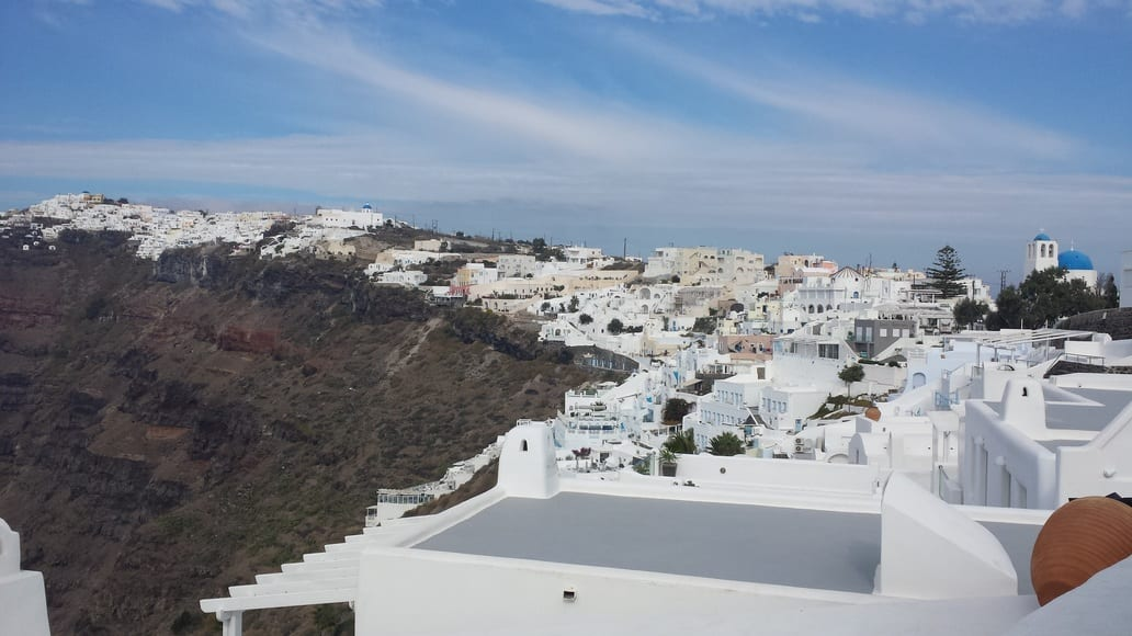 Walking from Fira to Oia in Santorini. The hiking trail takes you through 4 important villages.