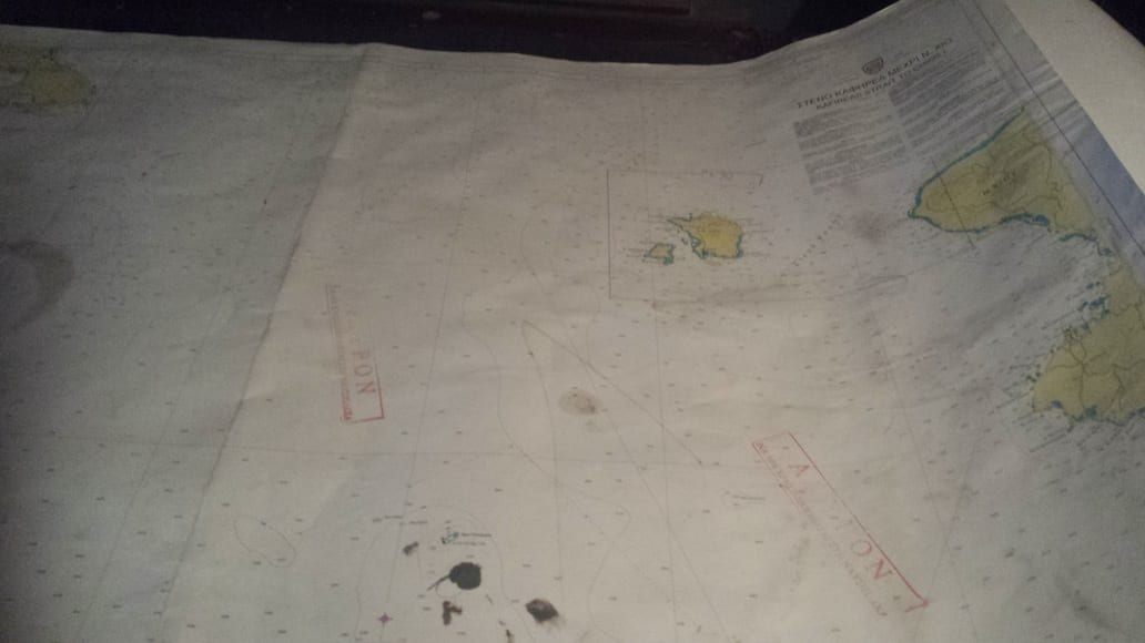 maps inside the Destroyer Velos in Athens