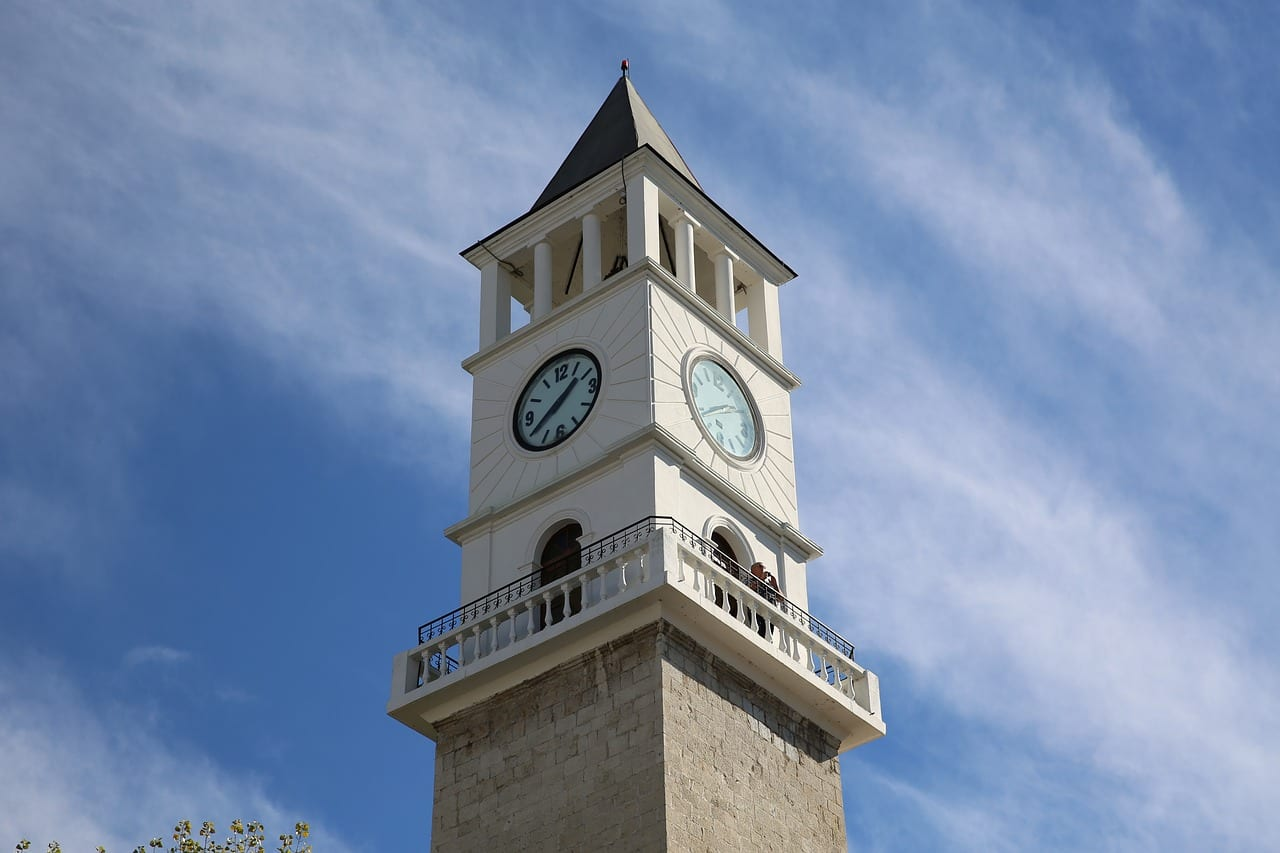 When looking at what to do in Tirana, be sure to include a stop by the clock tower.