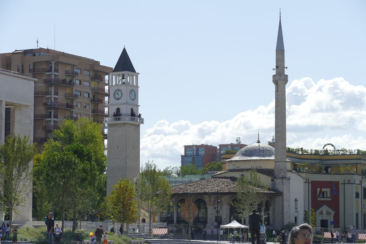 The 18th century Et'hem Bey Mosque in Tirana city centre.