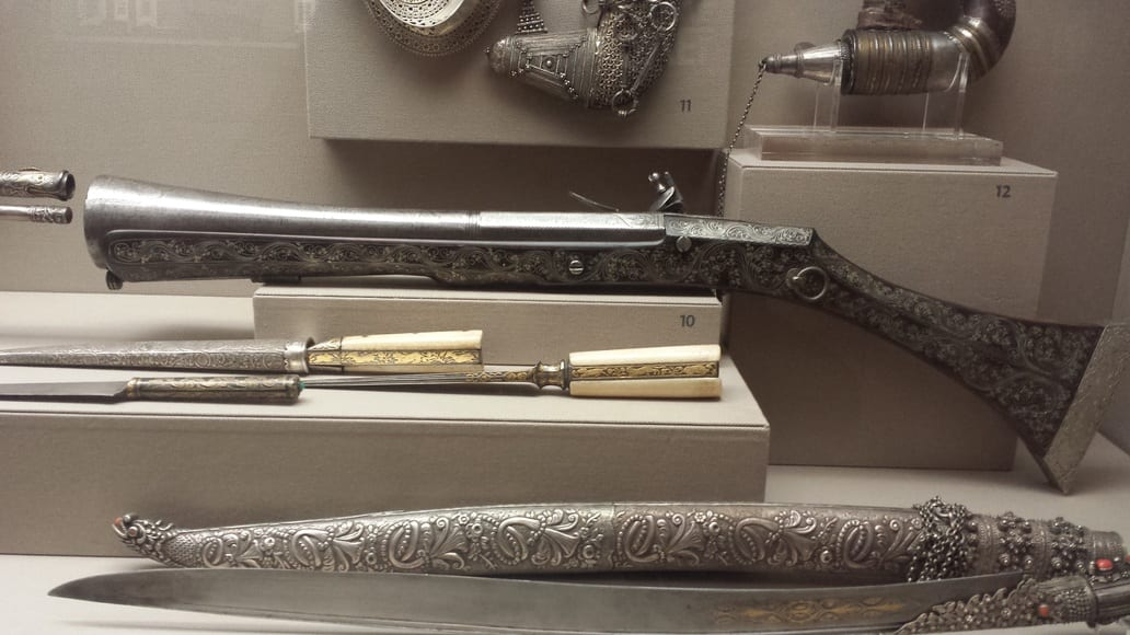 A display of 18th and 19th century weapons inside the Museum of Islamic Art in Athens