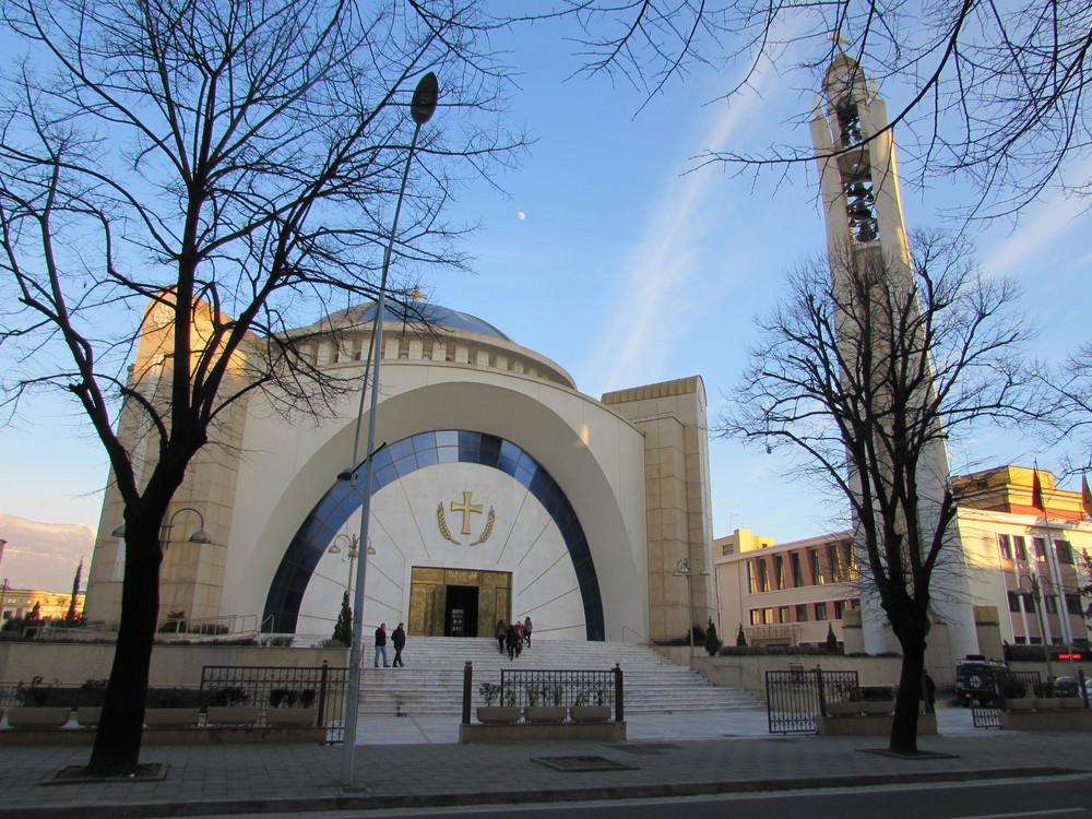 The strange looking Orthodox Church in Tirana