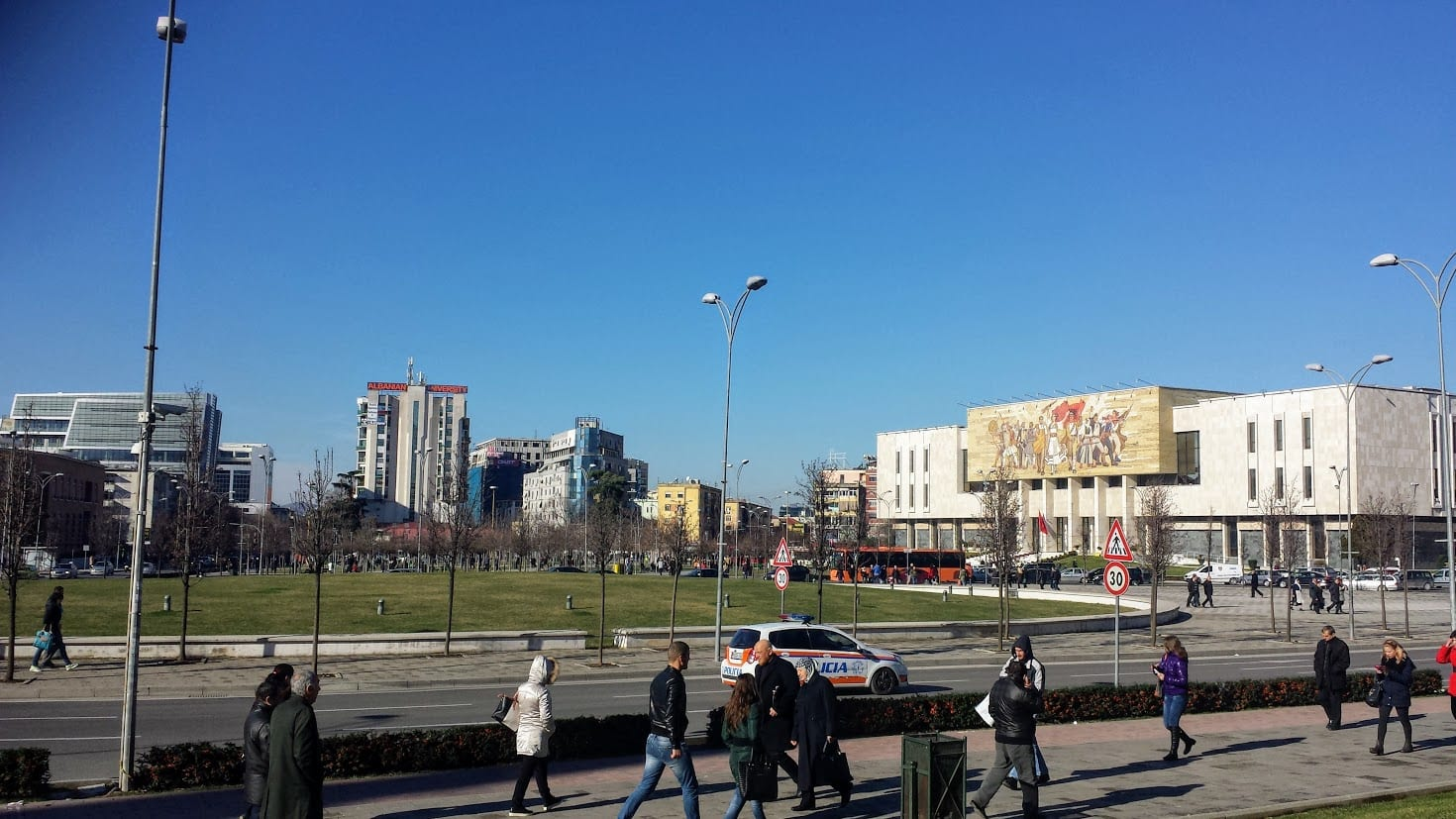 A view over Skanderberg Square in Tirana, Albania. This is the central point for Tirana city centre.