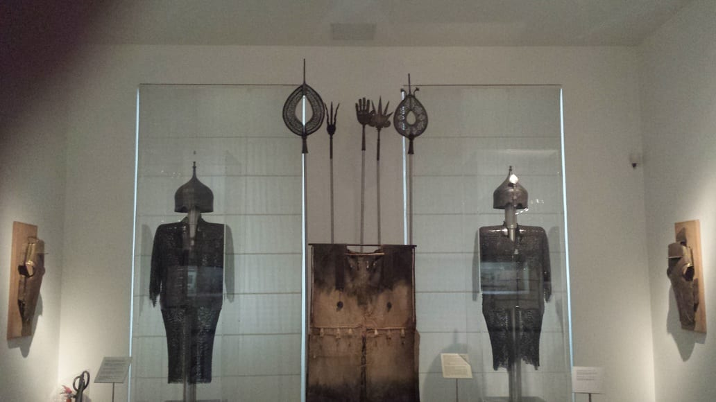 Chain mail and other armour in display inside the Museum of Islamic Art in Athens