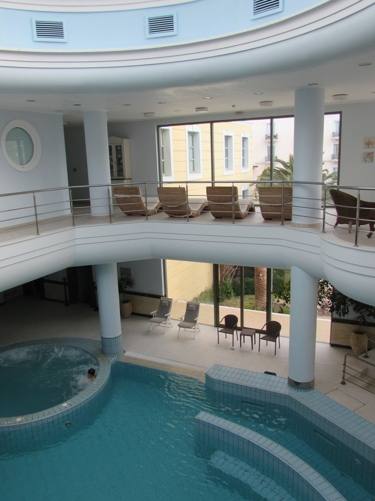 Inside the spa at the Thermae Sylla Hotel in Greece