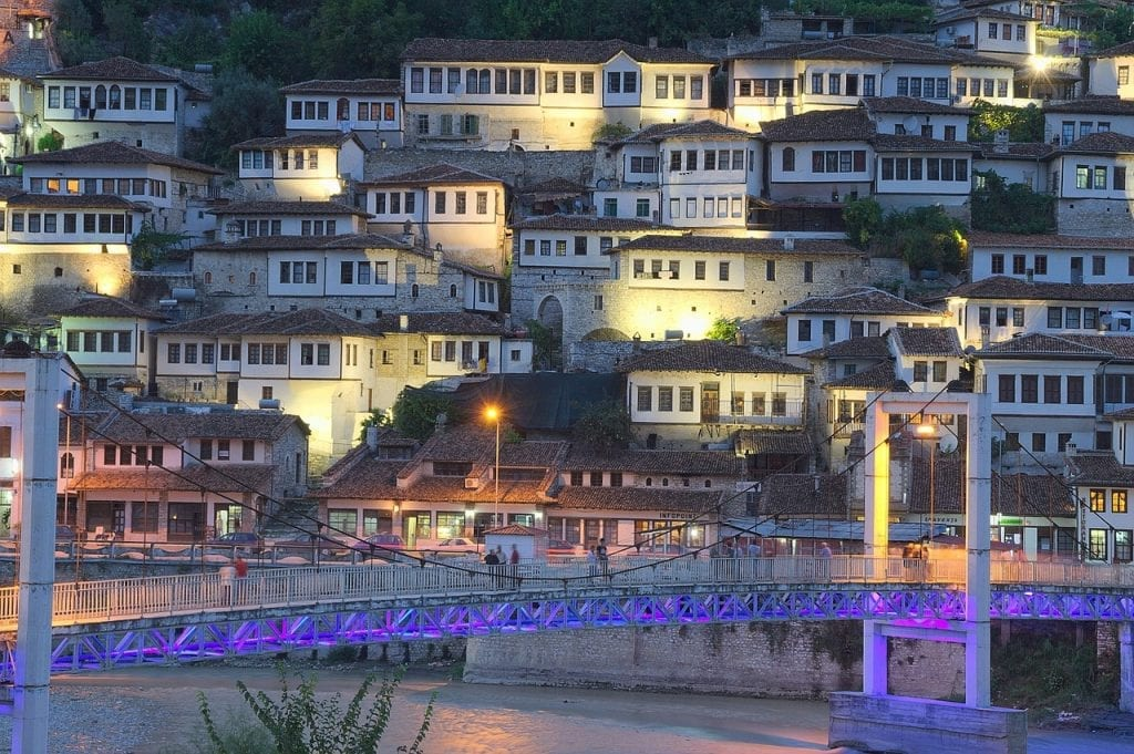 Berat in Albania during the evening