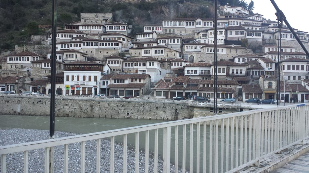 A view on to the historic UNESCO town of Berat in Albania