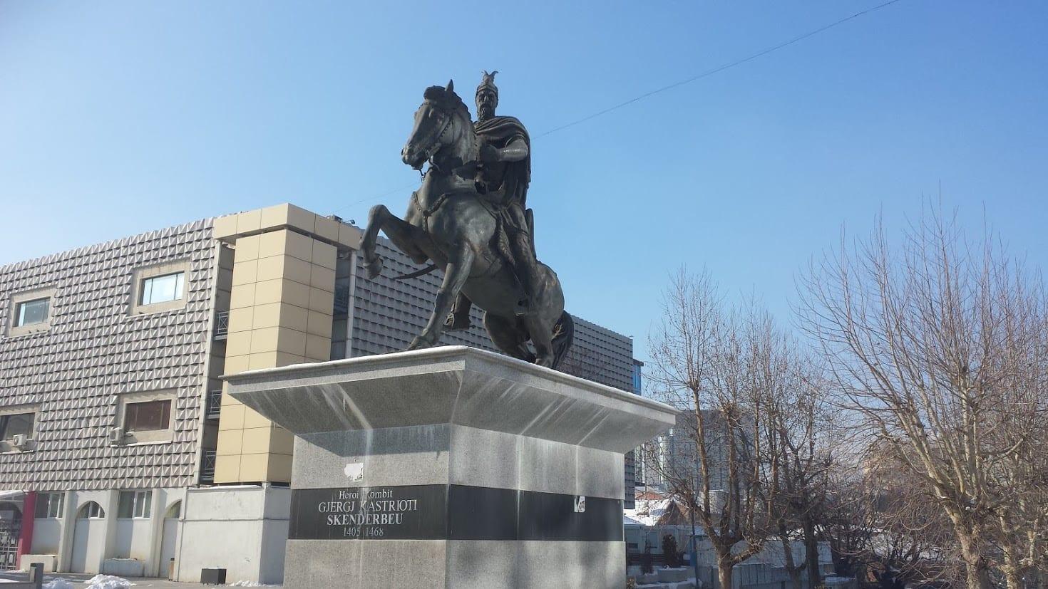 Skanderberg statue in Pristina Kosovo