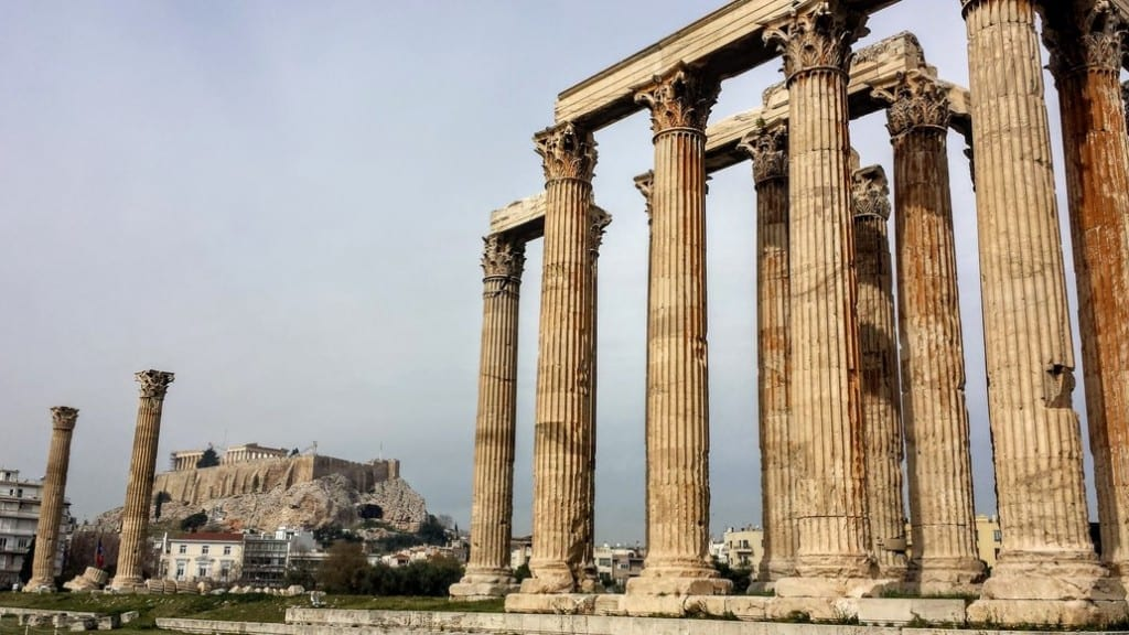 The Temple of Zeus is one of the surviving buildings from ancient Athens
