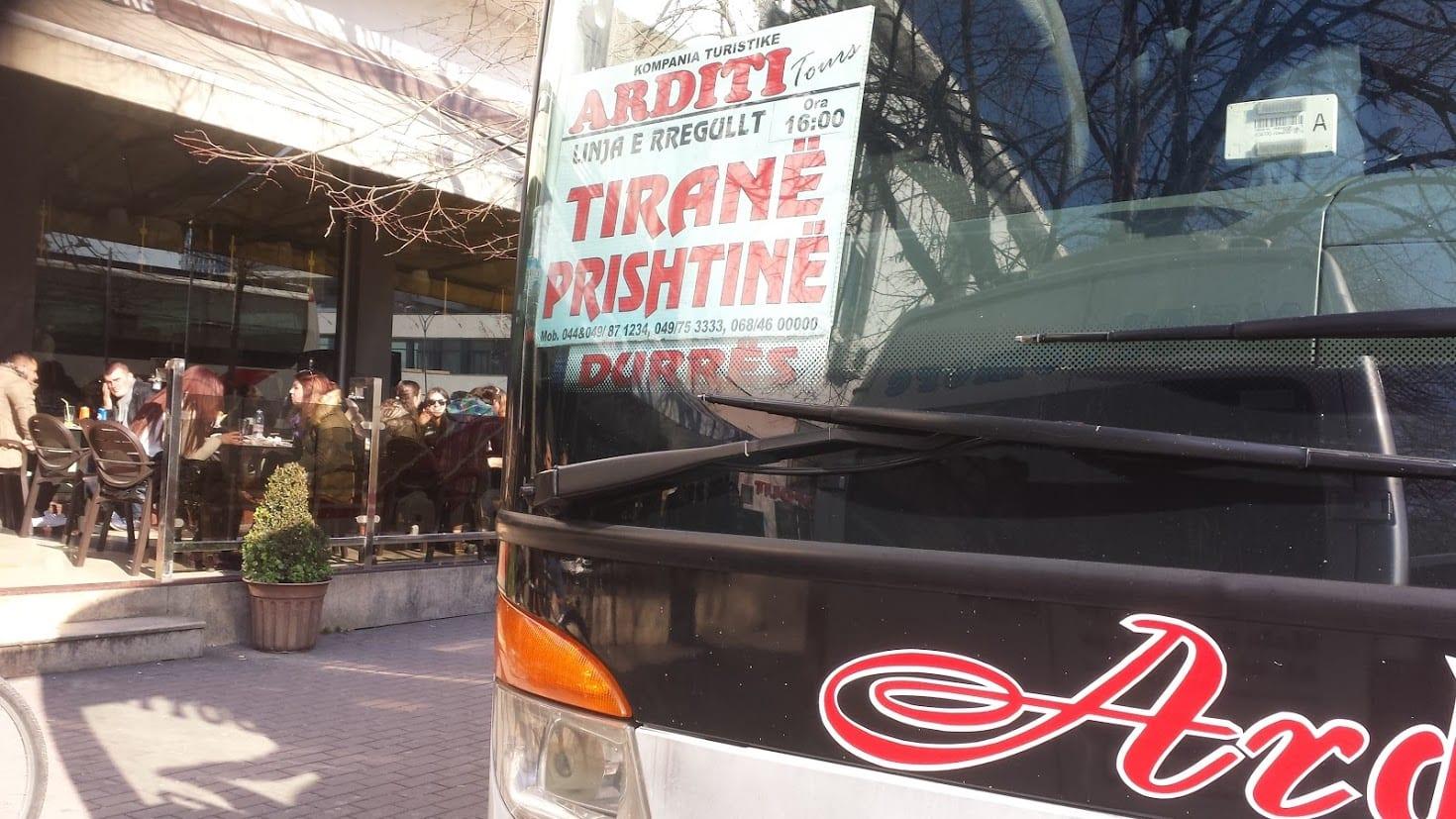 Taking the Tirana to Pristina bus
