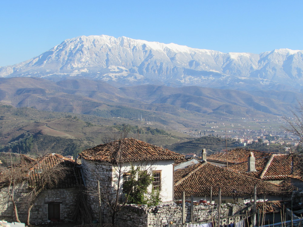 A view out over the mountain from Berat Castle in Albania