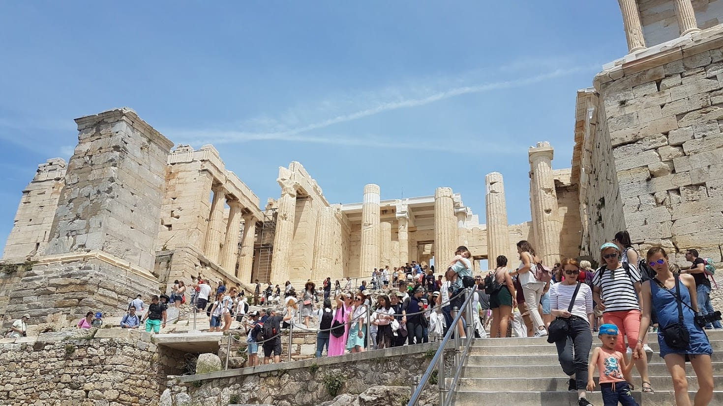 Walking up the Acropolis in Athens