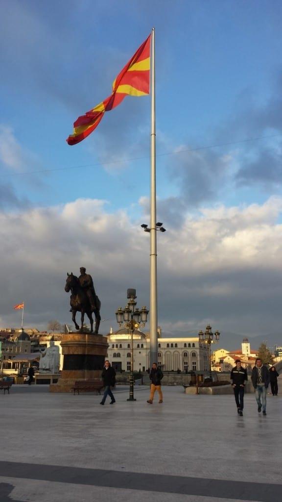 An enormous flag in Skopje
