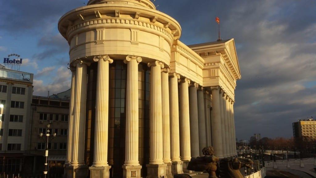 A kitsch neo-classical building in Skopje