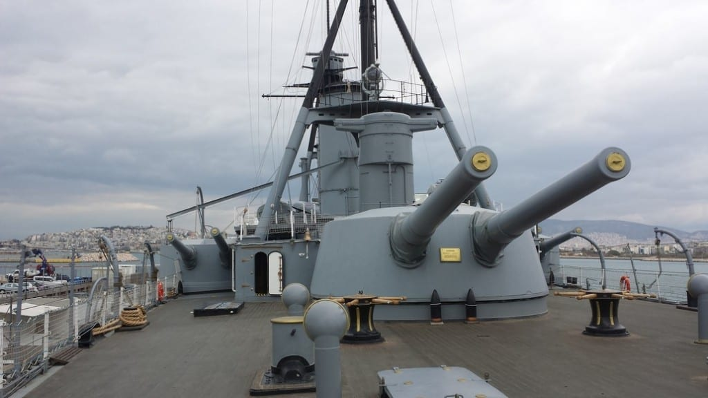 The powerful guns of the Averof. It is now a floating museum in Athens