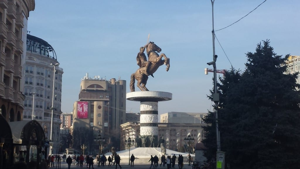 The warrior on a horse in Skopje. Don't mention Alexander the Great.