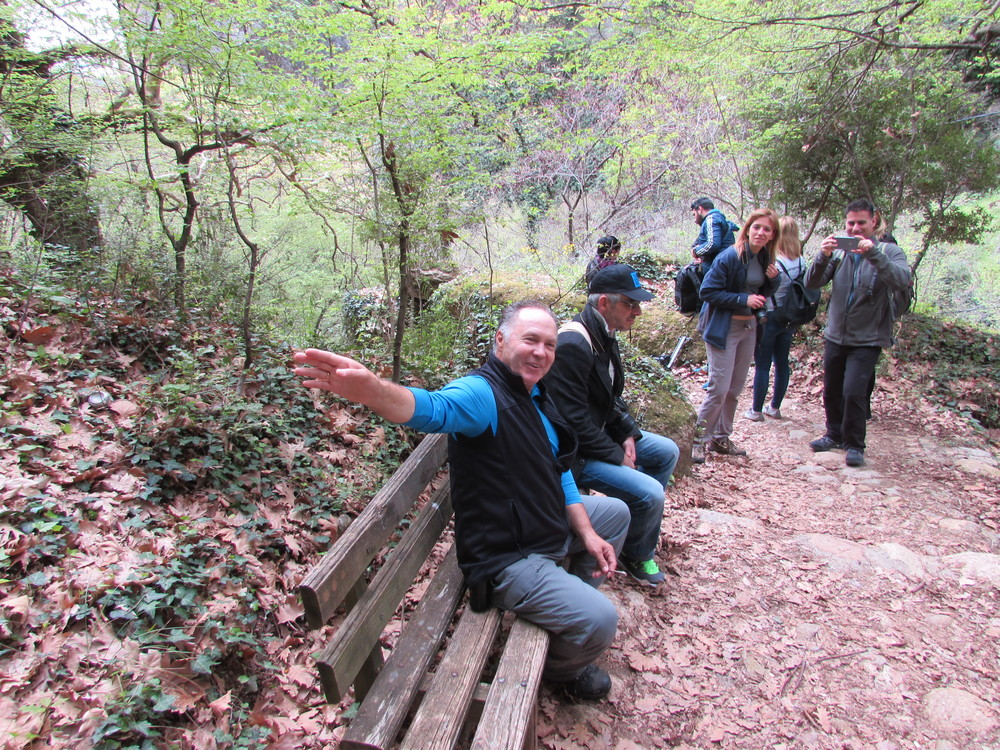 Our hiking guide describing some of the plants and trees during our hiking tour around Meteora