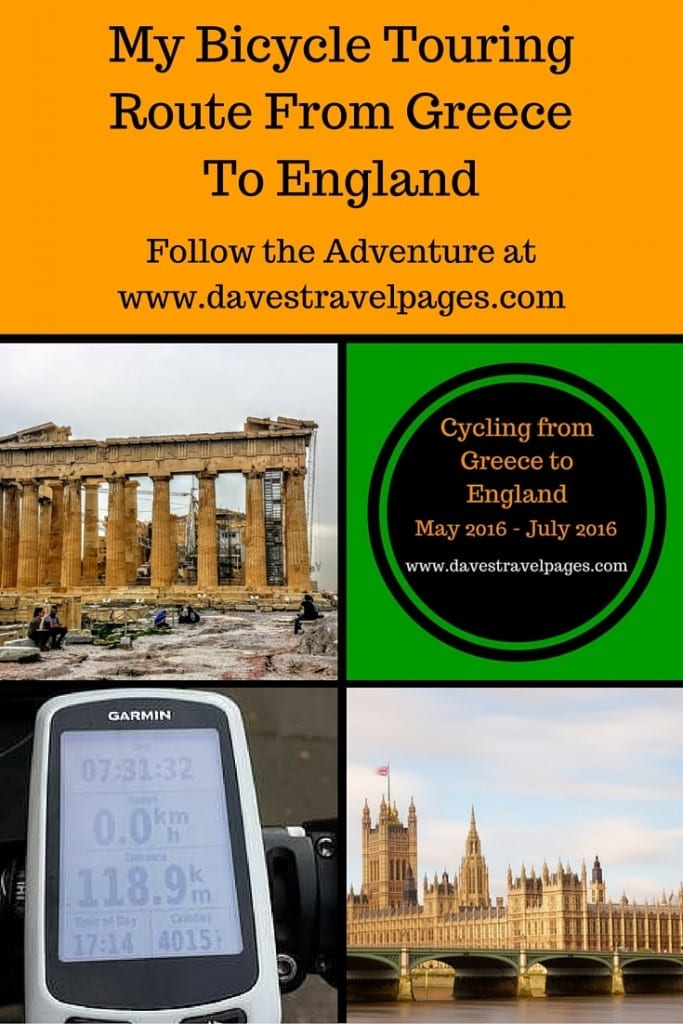 My bicycle touring route from Greece to England. This article covers the route I will be taking during my 2016 European bicycle touring adventure. It includes the countries I will be cycling through, with interactive maps.
