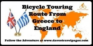 My bicycle touring route from Greece to England. This article lists which countries I will be cycling through, with some interactive maps.