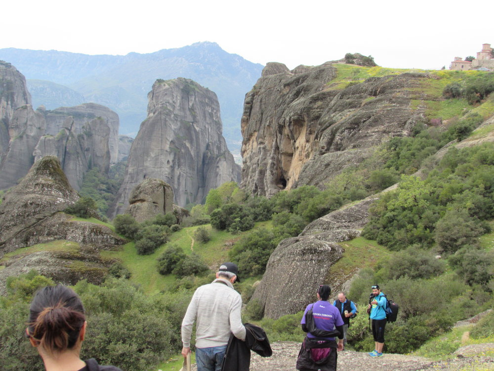Exploring the fantastic landscape during a Meteora hiking tour