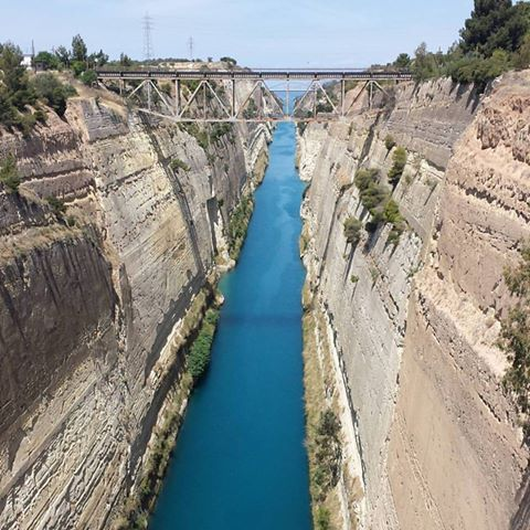 Corinth canal is just one of the sites you get to see when bicycle touring in Greece