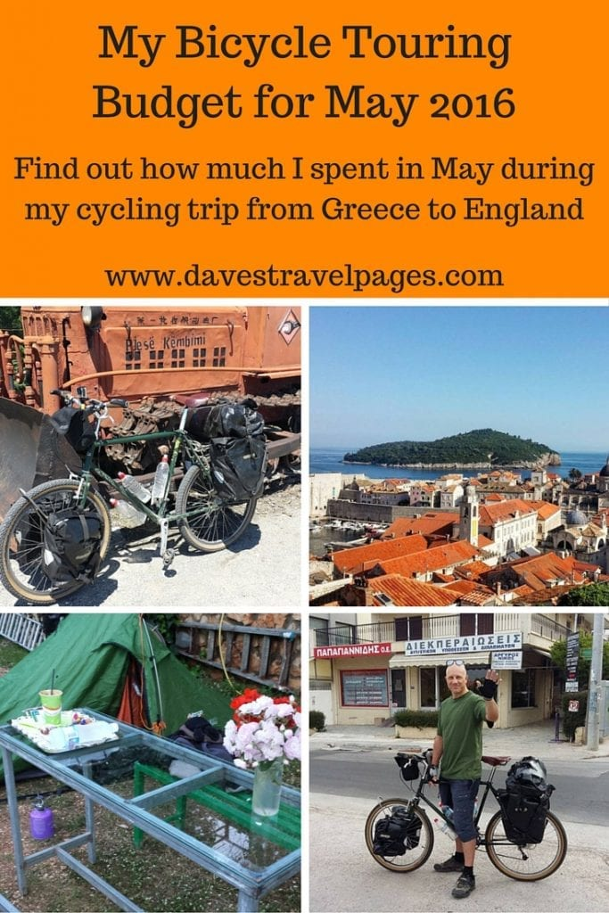My bicycle touring budget for May 2016 when cycling from Greece to England. Find out how much I spent in May during my cycling trip from Greece to England.