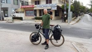 Dave Briggs, bicycle touring in Greece as he cycles from Greece to England