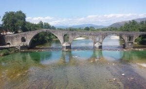 Old stone bridge in Arta, seen during my cycling trip from Greece to England