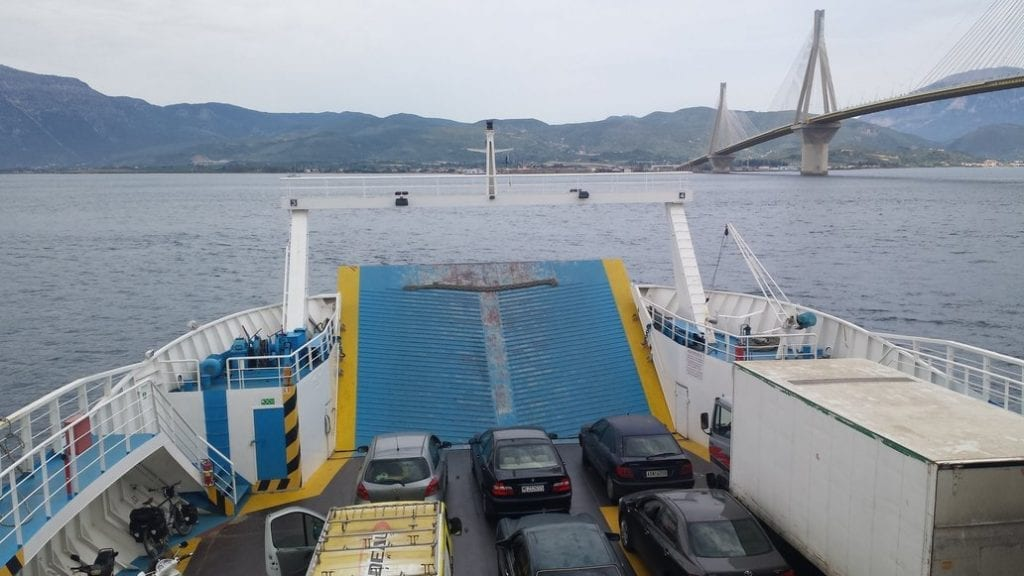 Ferry from Rio to Antirrio with a bicycle