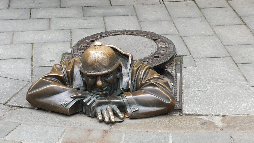 There are many statues to discover when wandering around the Old Town of Bratislava