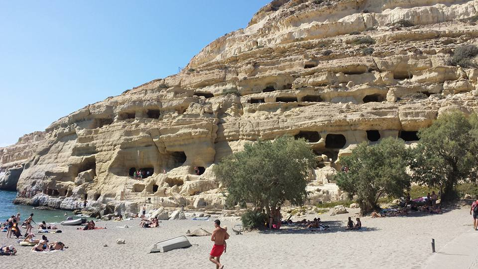 Matala caves in Crete. Very Fred Flintstone!