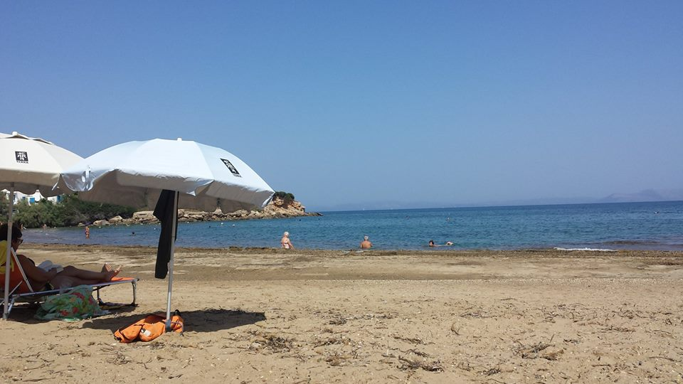 Enjoying the beach at Rafina in Athens in September