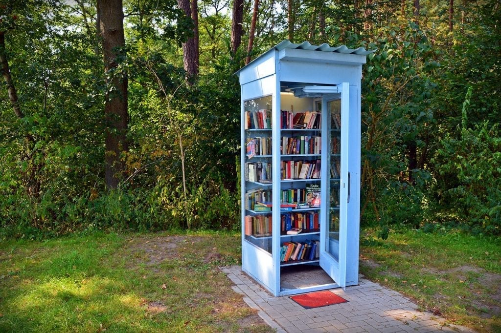 Book exchange in a phone booth