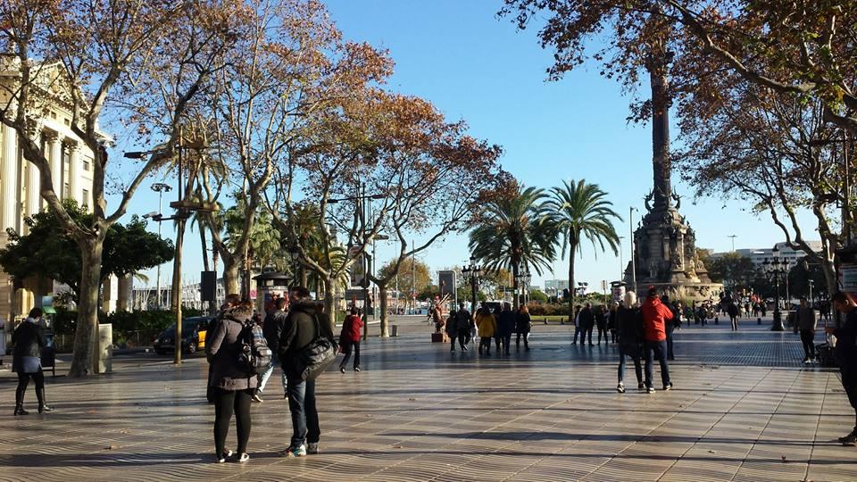 Walking on La Rambla in Barcelona